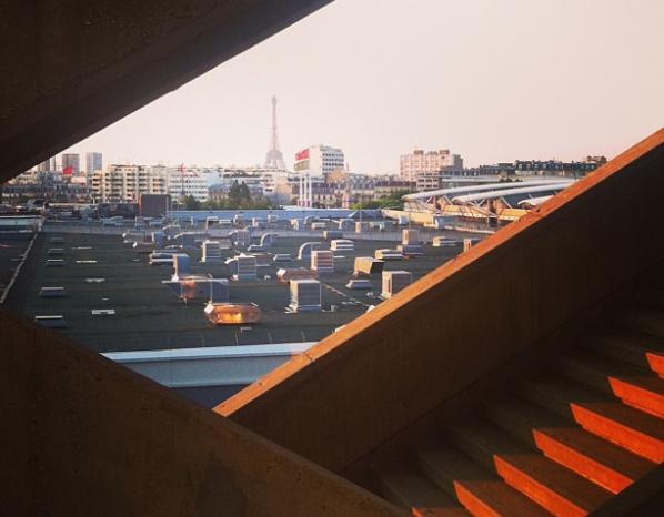 Coucher de soleil sur les toits Parisiens lors de mesures acoustiques